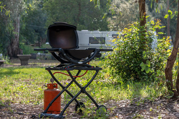 Gas grill in a camping park