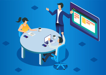 Project management and financial report strategy. Consulting team. Collaboration concept with collaborative people. Isometric business analysis planning. Flat isometric characters, vector illustration