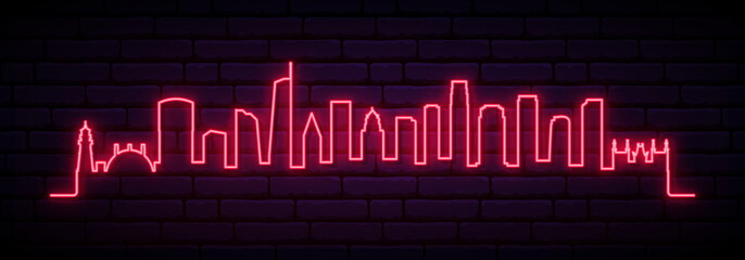 Red neon skyline of Los Angeles city. Bright Los Angeles long banner. Vector illustration. Fototapete