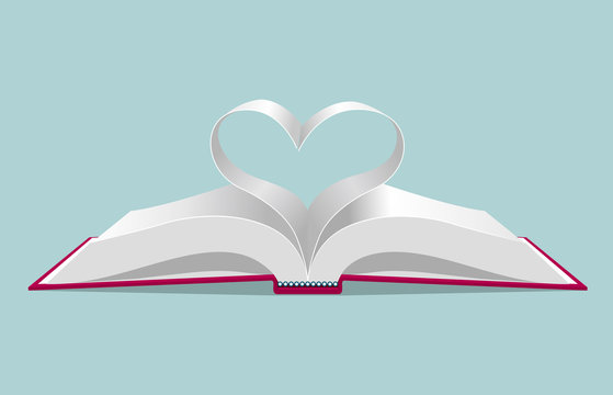 The heart symbol formed by the book page. Isolated on blue background.