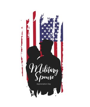 Military Spouse Appreciation Day.American patriotic holiday. Military man with his wife on USA flag