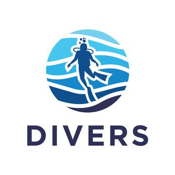 scuba diving flat logo
