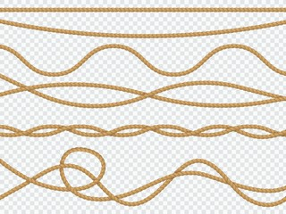 Realistic fiber ropes. Curve rope nautical cord straight lasso marine border brown jute twine natural tied packthread. Vector decor
