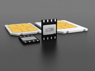 eSIM cards on gray background.