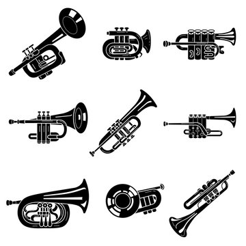 Trumpet icons set. Simple set of trumpet vector icons for web design on white background