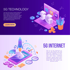 5G technology banner set. Isometric set of 5G technology vector banner for web design