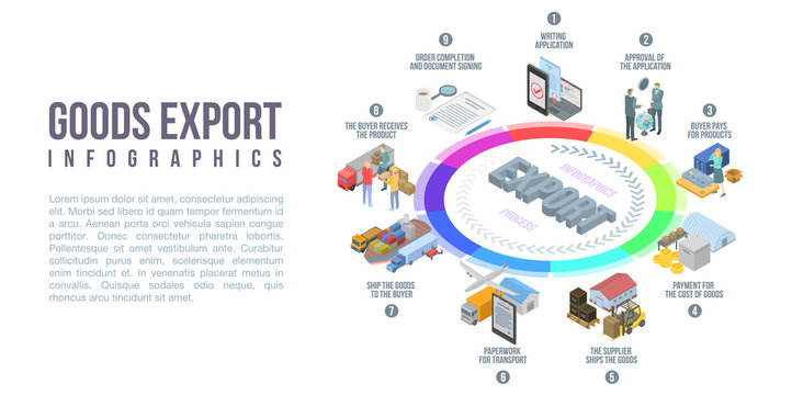 Goods export infographic. Isometric of goods export vector infographic for web design