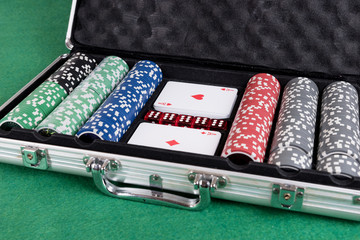 Poker set with cards, dice and chips in aluminum case
