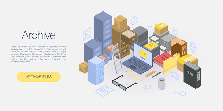 Office archive concept banner. Isometric illustration of office archive vector concept banner for web design