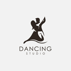 dancing studio logo vector, creative logo inspiration with negative space design style