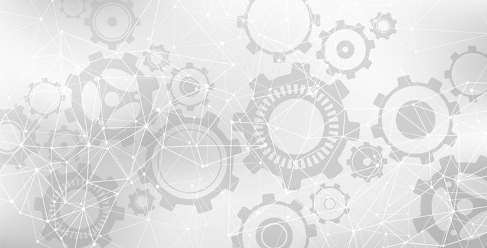 Grey & white vector banner design - communication / connection / network illustration with lines and gears