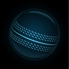 Vector image of a cricket ball made of glowing lines, points and polygons