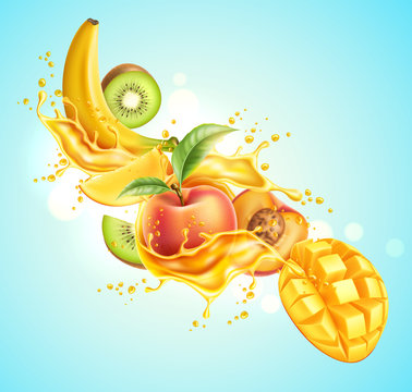 Realistic tropical fruits in juice splash explosion. Vector fresh drink package design. Ripe kiwi, peach with green leaves, mango and banana in juicy motion. Multifruit drink advertising design.