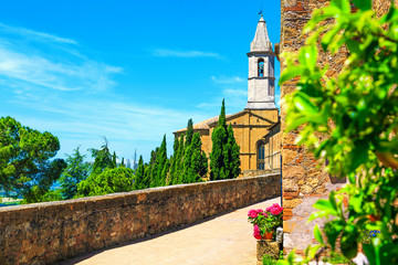 Rustic terrace with promenade and old church, Pienza, Tuscany, Italy