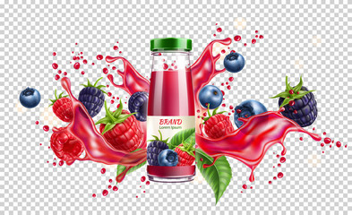 Realistic forest berries juice advertising design with blackberry, blueberry and raspberry in juicy splashing liquid. Forest mix splash for natural healthy product package design. Vector illustration Fototapete