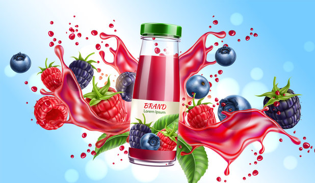 Realistic forest berries juice advertising design with blackberry, blueberry and raspberry in juicy splashing liquid. Forest mix splash for natural healthy product package design. Vector illustration