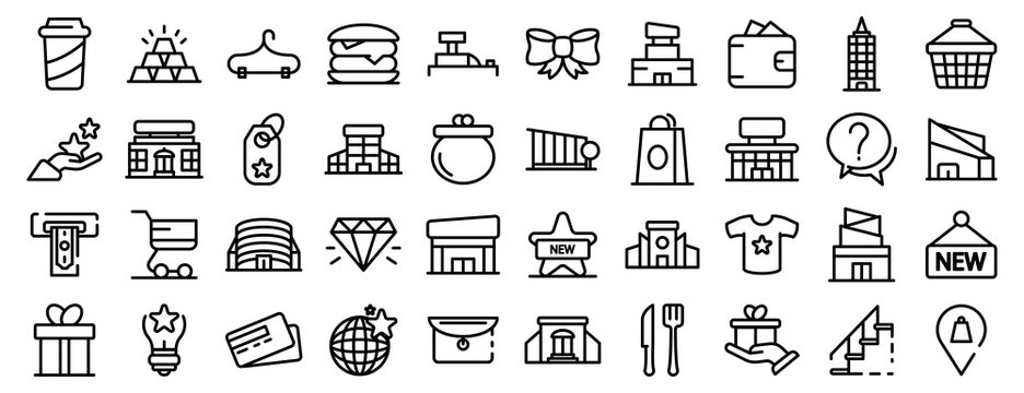 Mall icons set. Outline set of mall vector icons for web design isolated on white background