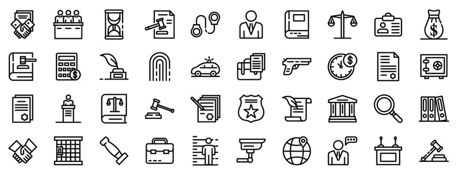 Lawyer icons set. Outline set of lawyer vector icons for web design isolated on white background