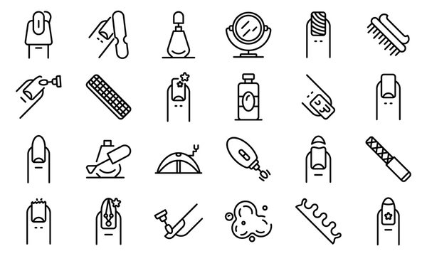Nail icons set. Outline set of nail vector icons for web design isolated on white background