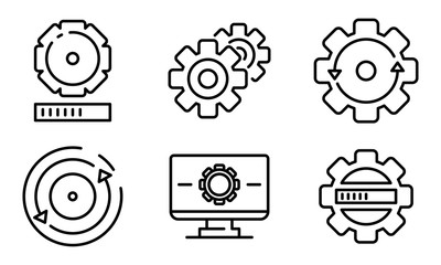 Obraz System update icons set. Outline set of system update vector icons for web design isolated on white background - fototapety do salonu