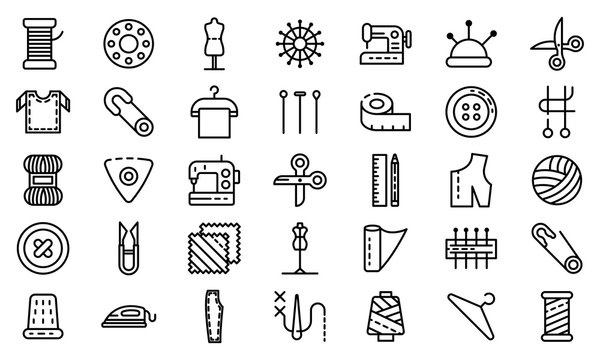 Tailor icons set. Outline set of tailor vector icons for web design isolated on white background