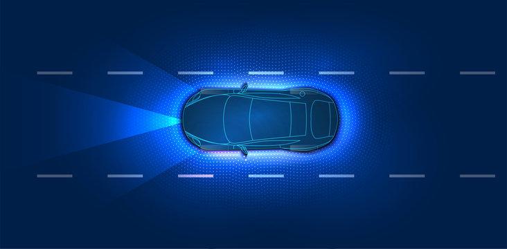 Smart car. Autonomous smart car scans the road . Autonomous self-driving mode vehicle on city road iot concept with graphic sensor radar signal system. Futuristic concept, top view with background.HUD