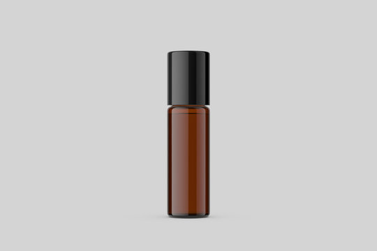 Amber glass Bottle with blank label Mock up on soft grey background. 3D rendering. Mock up template ready for your design