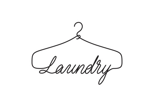 Creative Laundry logo design. Vector sign with lettering and hanger symbol