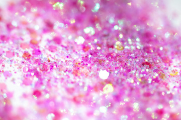 Pink Sparkling Glitter on White Background Bokeh Abstract Close Up
