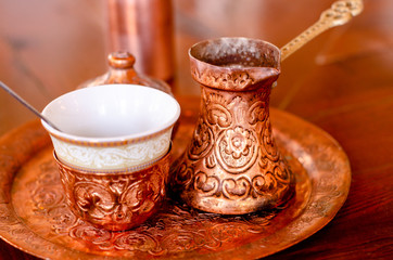 Coffee served in the traditional Bosnian coffee service
