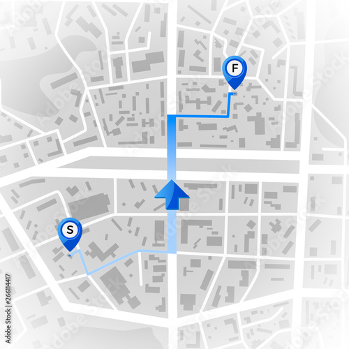 Abstract city map  GPS and navigation concept  Travel route