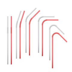 Red and white flexible cocktail straw. Vector illustration isolated on white background