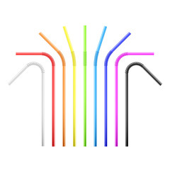 Set of rainbow colorful flexible cocktail straw. Vector illustration isolated