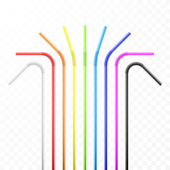 Set of rainbow colorful flexible cocktail straw. Vector illustration isolated on transparent background