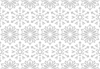 Foto op Canvas Geometrisch Abstract geometric pattern with lines, snowflakes. A seamless vector background. White and grey texture. Graphic modern pattern