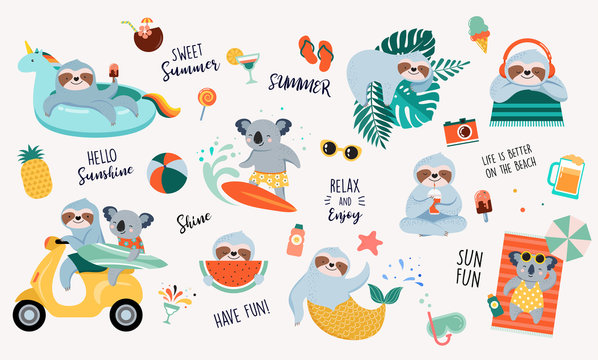Summer fun illustration with cute characters of koalas and sloths, having fun. Pool, sea and beach summer activities, concept vector illustrations
