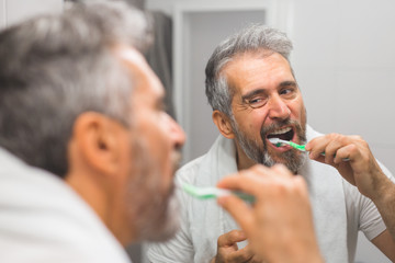 middle aged bearded gray haired man brushing teeth in bathroom