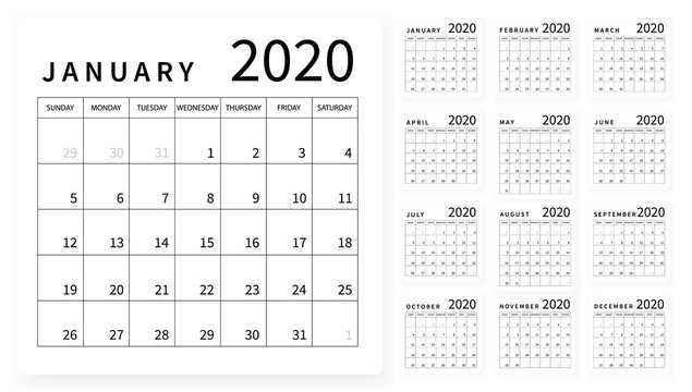 Mockup Simple calendar Layout for 2020 year. Week starts from Sunday