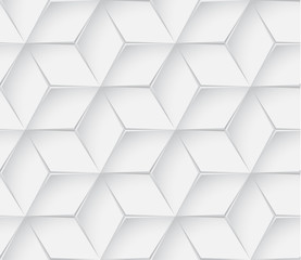 Abstract white geometric 3d texture background.  Seamless texture.  Hexagon pattern.