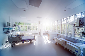 Interior of reanimation room in modern clinic