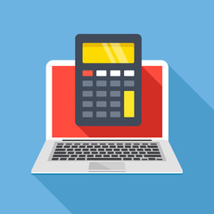 Laptop with calculator on screen. Flat design. Vector illustration