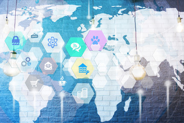 Internet of things abstract illustration with many icons and world map on grey wall as background