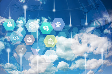 Digital global technology and internet of things abstract image
