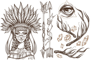 Beautiful girl in a headdress of North American Indians. Contour illustration for tattoos and dazain clothes, posters, fashion shows. Wall mural