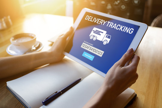 Delivery tracking form on device screen. E-commerce and business concept.