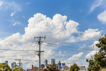 Summer suburban view with Melbourne sky line in the background.