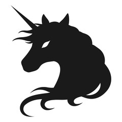 Beautiful Unicorn head silhouette vector