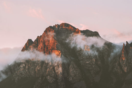 Rocky mountains range and clouds sunset landscape Travel view wilderness nature tranquil scenery