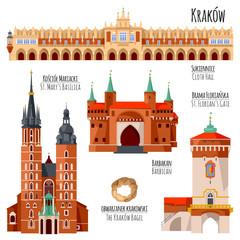 Fototapeta Sights of Krakow, Poland. Cloth Hall, St. Florian's Gate, St. Mary's Basilica, Barbican. obraz