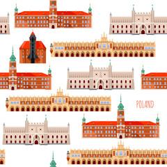 Sights of Poland. Krakow, Cloth Hall, Lublin, Castle, Gdansk, Crane, Warsaw, Royal Castle.  Seamless background pattern.